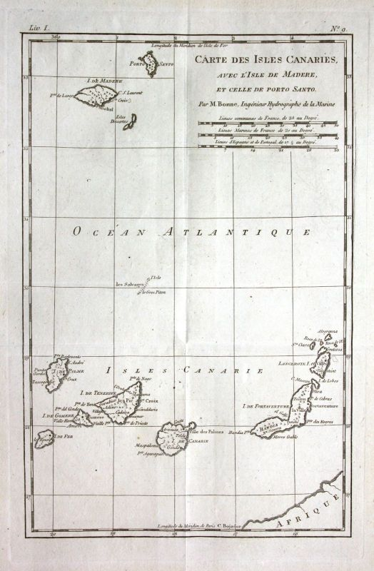 Ca. 1780 Canary Islands Kanaren Madeira Kupferstich Karte map engraving Bonne