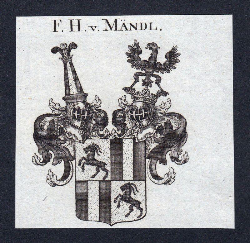 Ca.1820 Mändl Maendl Wappen Adel coat of arms Kupferstich antique print heraldry