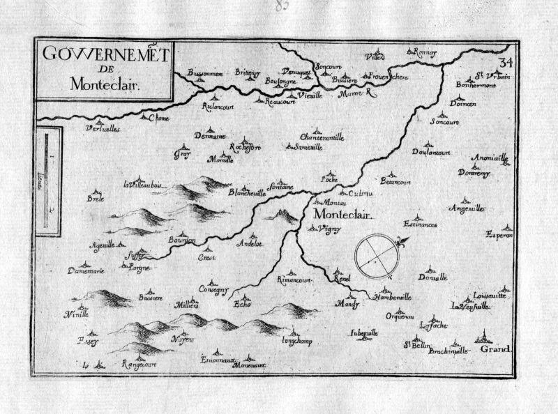Ca. 1630 Monteclair Champagne-Ardenne Frankreich France gravure carte Tassin