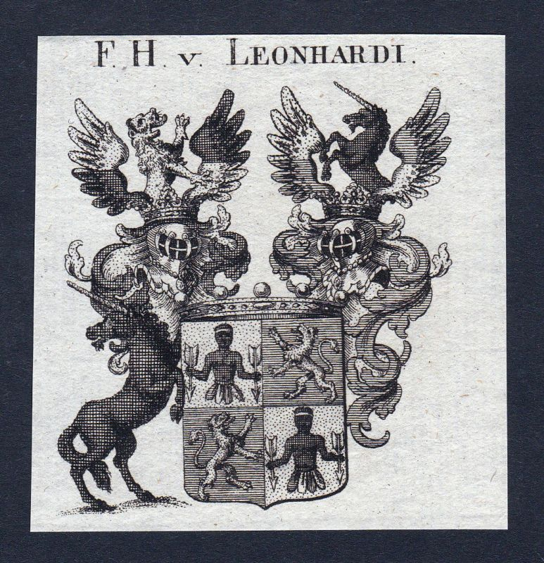 Ca. 1820 Leonhardi Wappen Adel coat of arms Kupferstich antique print her 144734