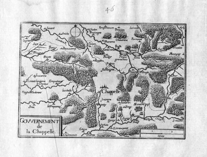 Ca. 1630 Crecy la Chapelle Seine-et-Marne Frankreich France gravure carte Tassin