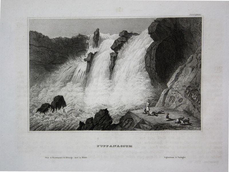 Puppanassum Wasserfall waterfall India Indien Ansicht view Stahlstich ca. 1850