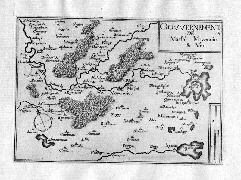 Ca. 1630 Marsal Moyenvic Vic-sur-Seille Moselle Frankreich France gravure Tassin