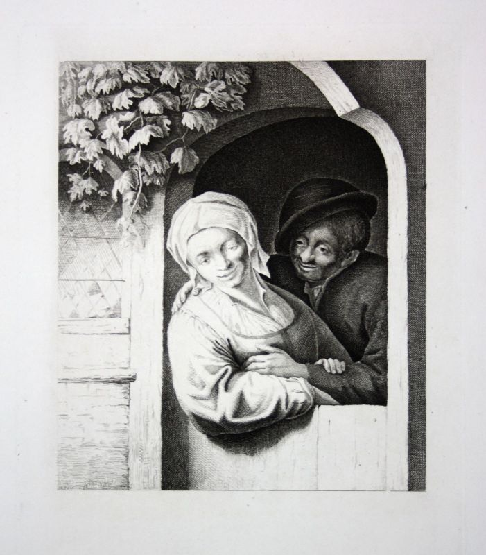 Ca. 1800 Frau Mann Fenster Weinrebe man woman window wine Kupferstich engraving