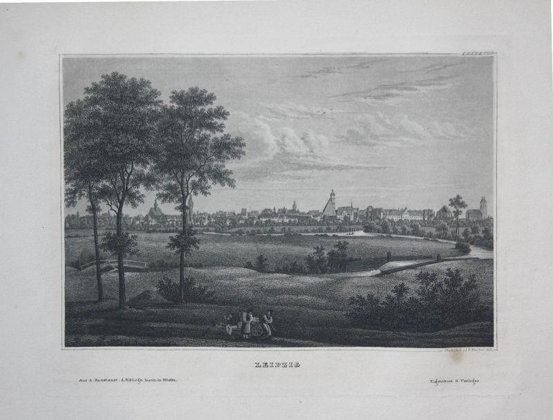 Leipzig Ansicht view vue Stahlstich steel engraving antique print ca. 1850