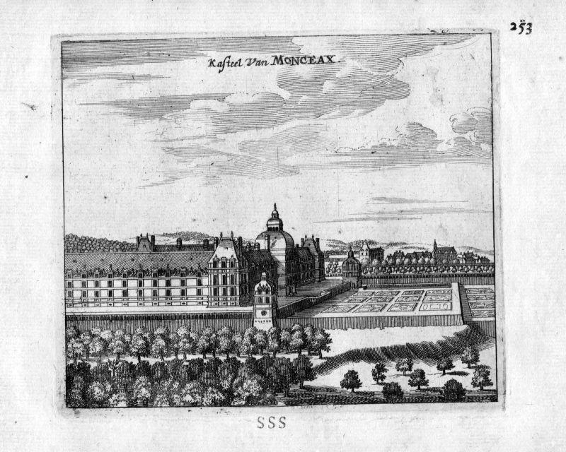 1666 Chateau du Monceau Frankreich France gravure estampe Kupferstich