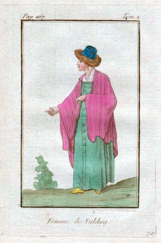 1780 Valday Valdaj Russia Russland costume Trachten Kupferstich antique print