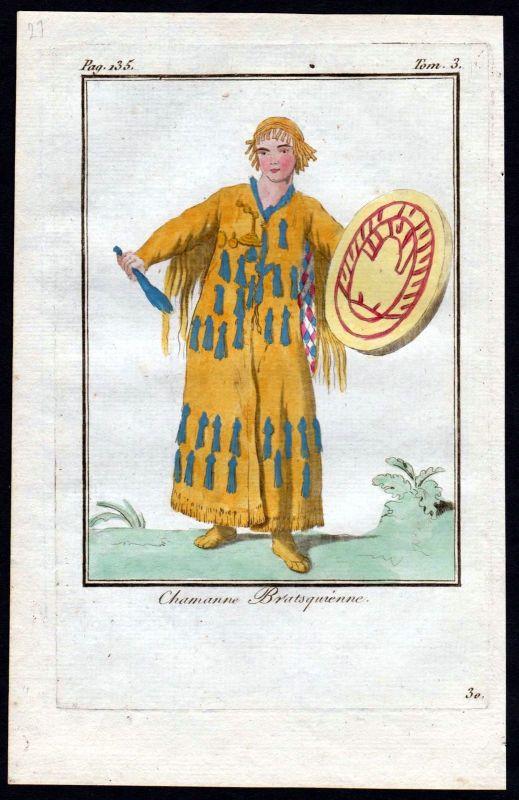 1780 - Bratsque Russland Russia costume Kupferstich Tracht antique print