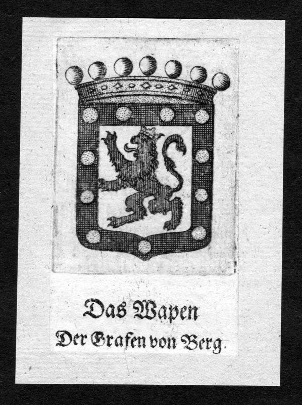 1750 - Berg Wappen Adel coat of arms heraldry Heraldik Kupferstich