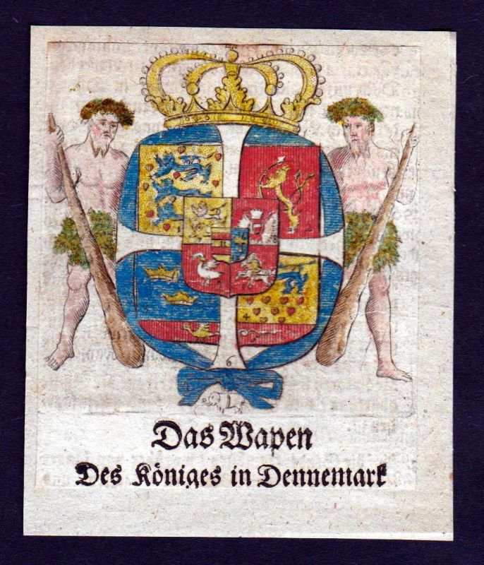1750 - Dennemark Dänemark Wappen Adel coat of arms heraldry Heraldik Kupferstich