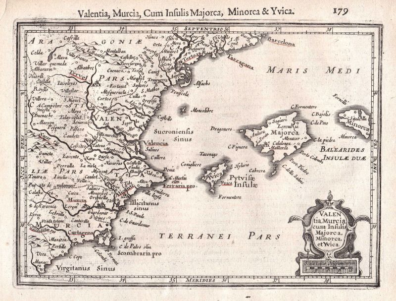 1628 Valencia Murcia Mallorca Menorca Ibiza Spanien Spain Espana map Mercator