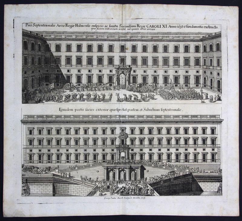 1720 Stockholm Sverige Sweden Karl XI Ansicht Kupferstich antique print Merian