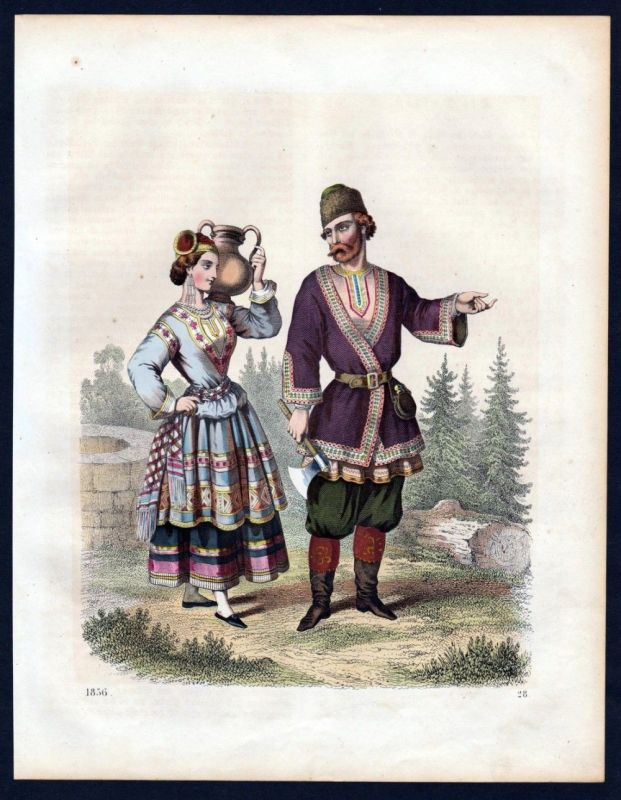 1856 - Russland Russia Tracht Trachten costumes Lithographie lithograph