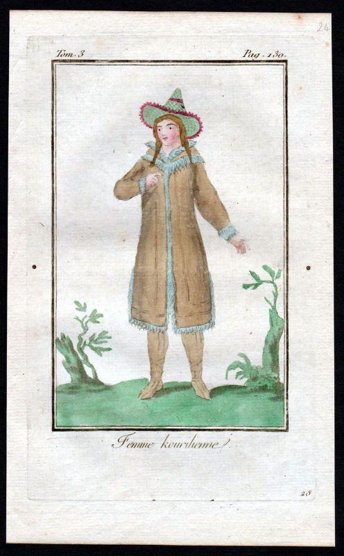 1780 - Kurilen Russland Russia costume Kupferstich Tracht antique print