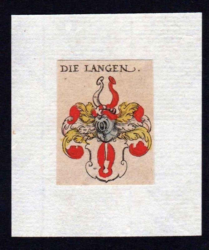 17. Jh Lang Wappen coat of arms heraldry Heraldik Kupferstich
