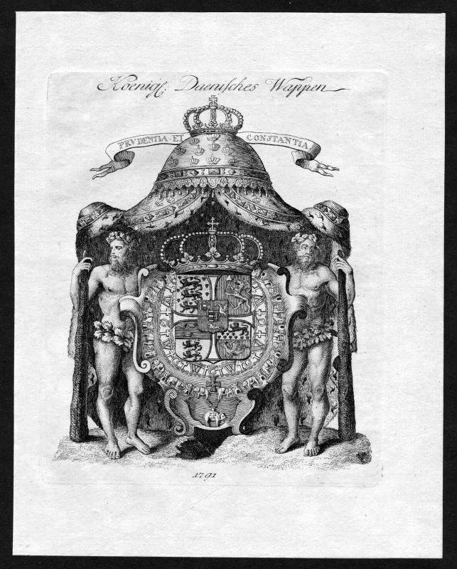 1791 Dänemark Danmark Wappen coat of arms heraldry Kupferstich engraving