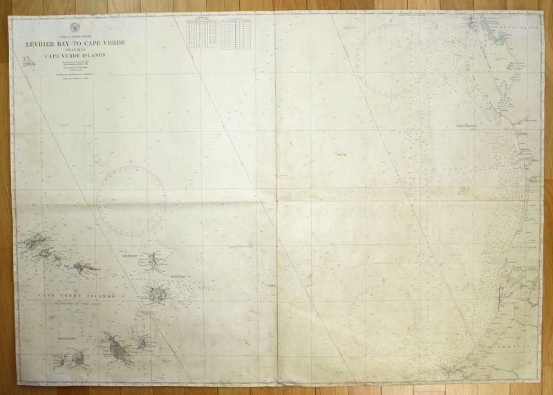 1938 Africa West Coast Levrier Bay Cape Verde Cape Verde Islands Afrika map
