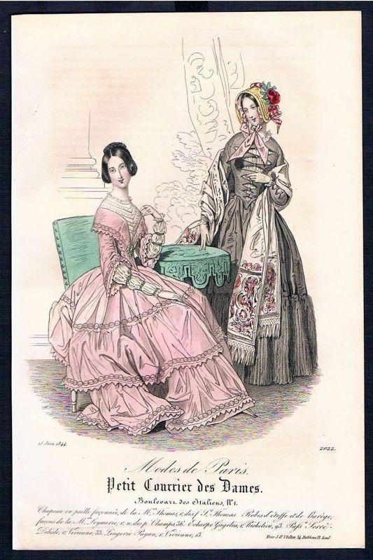 1844 Biedermeier Mode Kupferstich victorian fashion antique print Paris etching