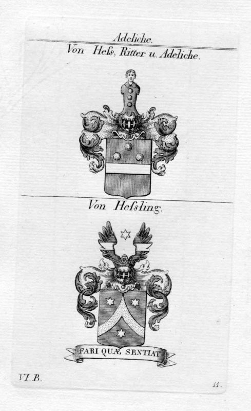 Von Hess / Von Hessling / Bayern - Wappen coat of arms Heraldik heraldry Kupfers