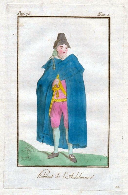 1780 Andalucia Andalusien Spain Espana Spanien costume Trachten Kupferstich