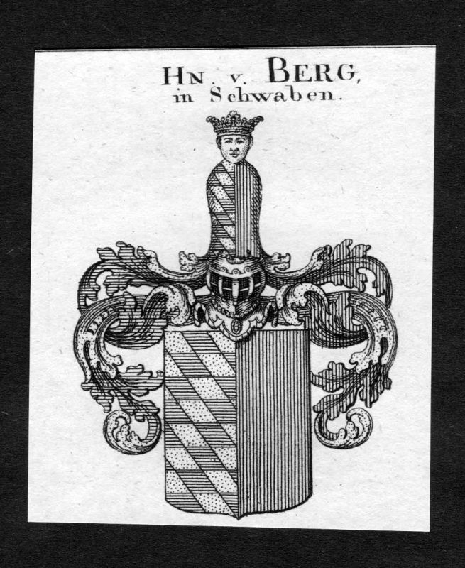 1820 - Berg Wappen Adel coat of arms heraldry Heraldik Kupferstich