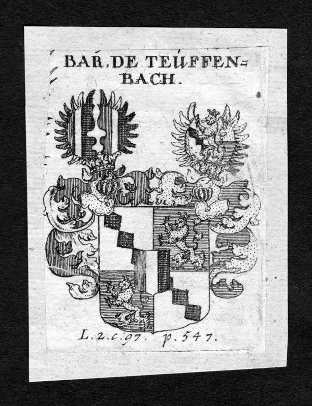 1750 - Teuffenbach Wappen Adel coat of arms heraldry Heraldik Kupferstich