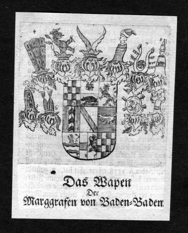 1750 - Baden-Baden Baden Wappen Adel coat of arms heraldry Heraldik Kupferstich