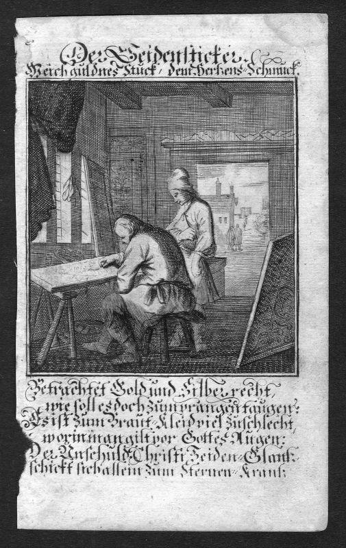 Seidensticker silk embroider Beruf profession Weigel Kupferstich antique print