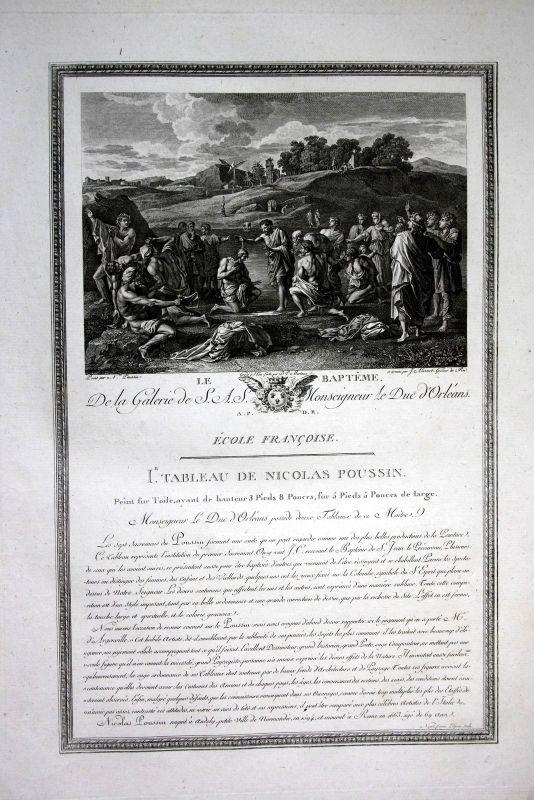 1786 Taufe bapteme baptism Kupferstich antique print Nicolas Poussin Aliamet