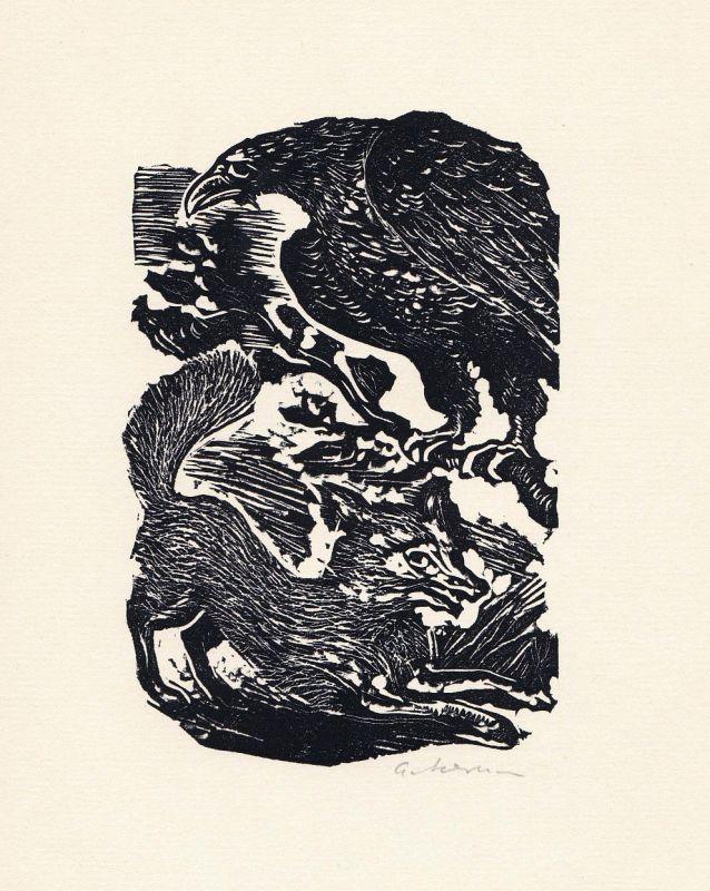1972 Helmut Ackermann Linolschnitt zu einer Fabel von Aesop signiert