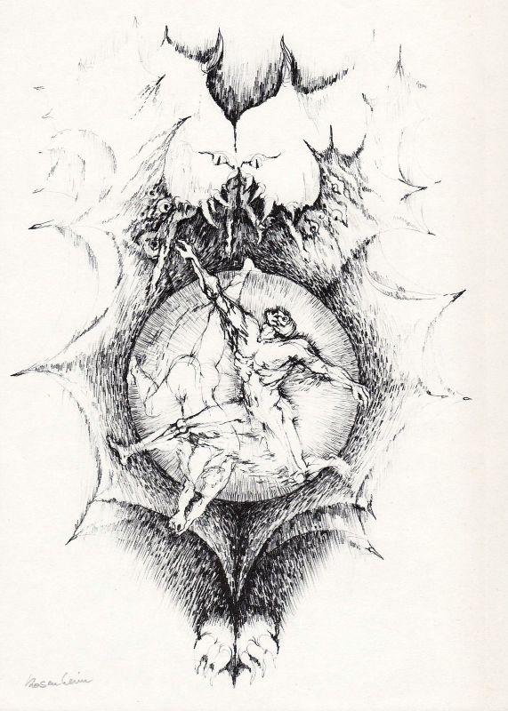 1967 Bernd Rosenheim Rotaprint-Zeichnung zu Dantes