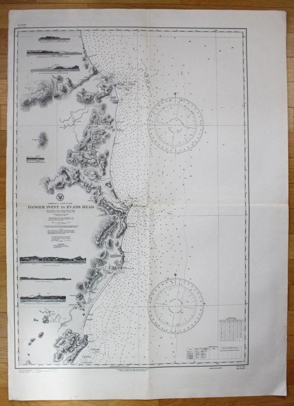 1943 Australia - East Coast - Danger Point to Ev Ans Head Evans Australien map