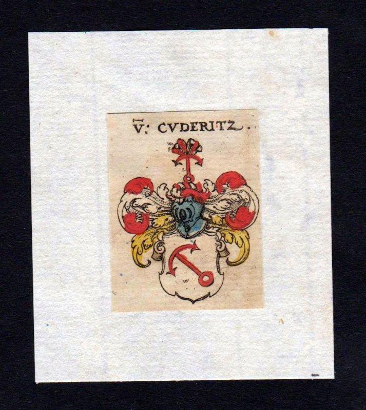 17. Jh Cuderitz Wappen coat of arms heraldry Heraldik Kupferstich
