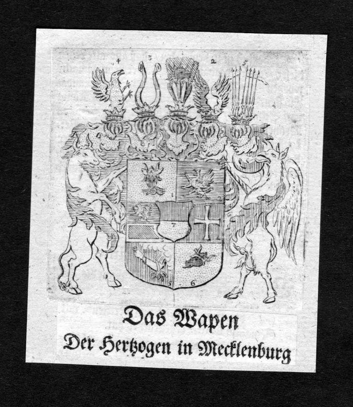 1750 - Mecklenburg Wappen Adel coat of arms heraldry Heraldik Kupferstich 126416