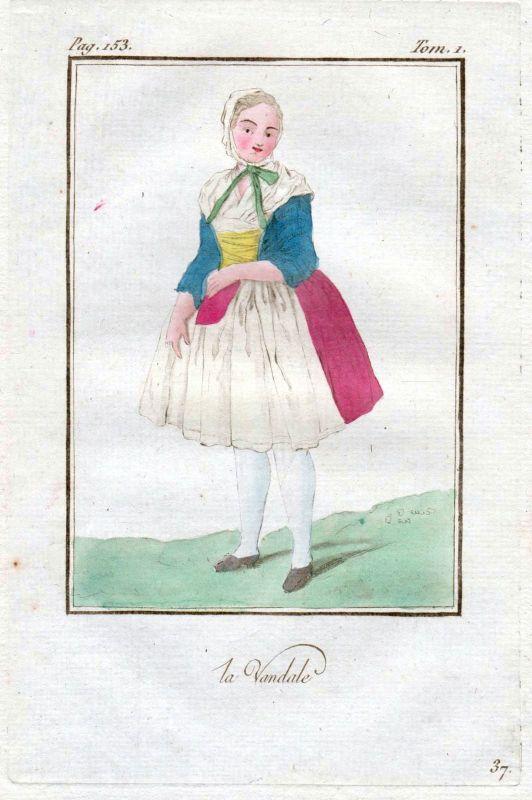 1780 Vandalen Vandals people Volk costume Trachten Kupferstich antique print