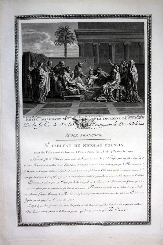 1786 Moses Mose pharaon Pharao Kupferstich antique print Nicolas Poussin Dambran