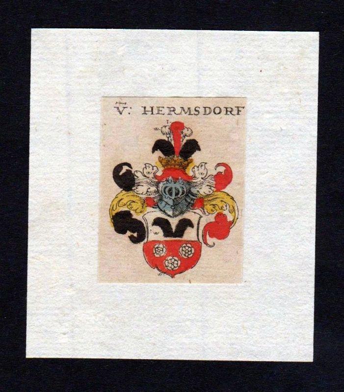 17. Jh Hermsdorf Wappen coat of arms heraldry Heraldik Kupferstich