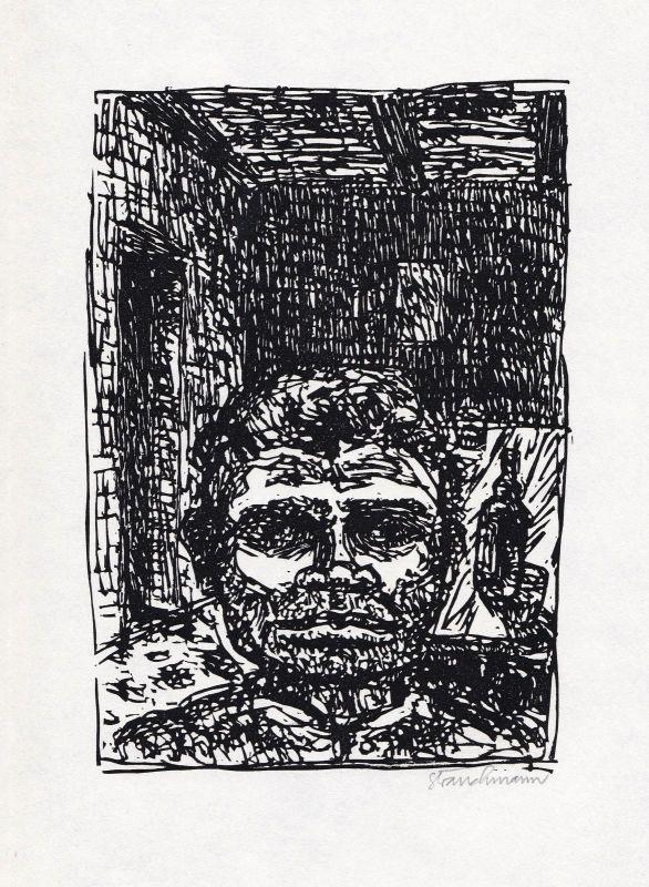 1969 Went Strauchmann Charles Sealsfield Linolschnitt Prärie am Jacinto signiert