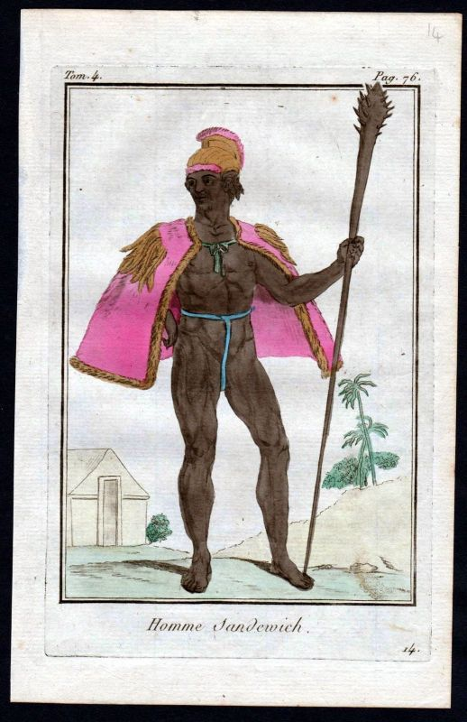 1780 - Sandwich Inseln island costume Kupferstich Tracht antique print 115206