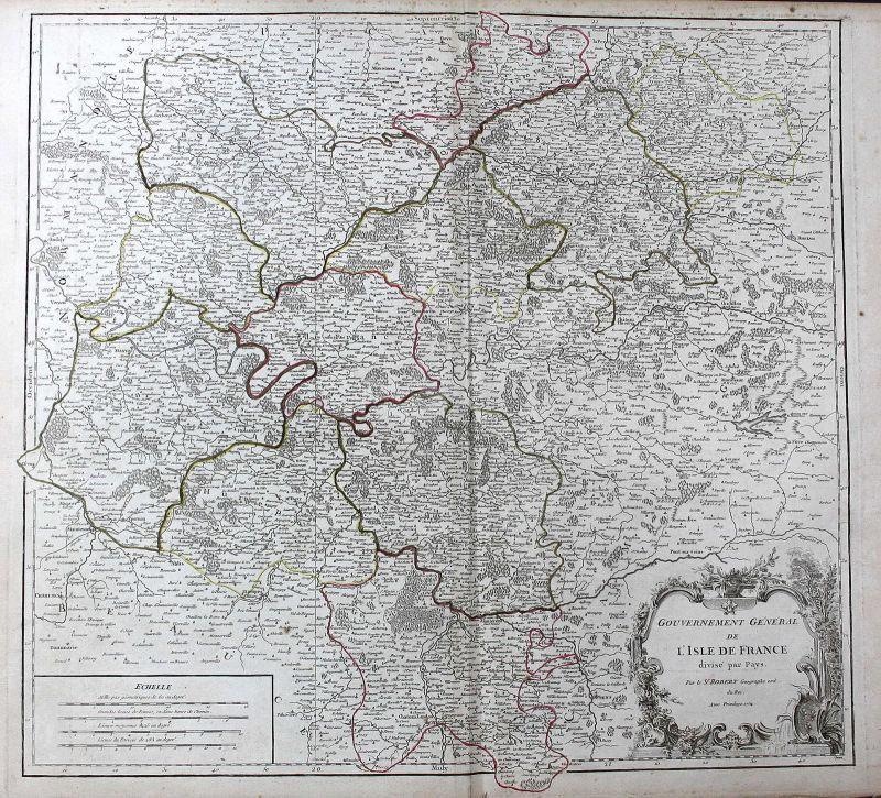 1754 France Frankreich Paris Champagne Île-de-France Karte map Kupferstich