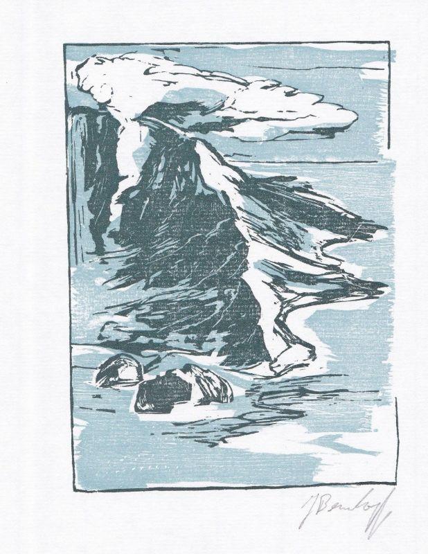 1996 Jörg Bernkopf Jack London Holzstich Gedicht Die vergessenen Inseln signiert