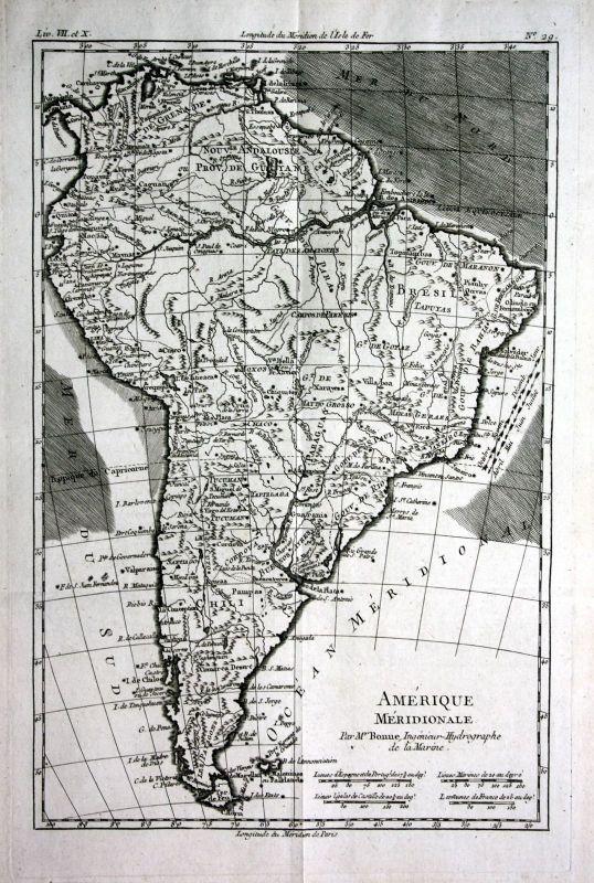 1780 South America Chile Peru Brazil Argentina Kupferstich map engraving Bonne