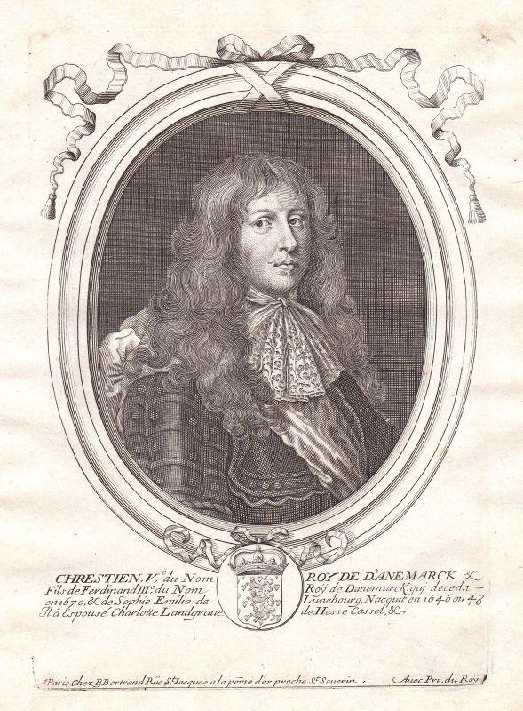 1680 Christian V Denmark Danmark Portrait Kupferstich engraving de Larmessin