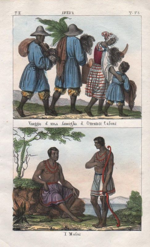 1840 - South Africa Malawi people costume Lithograph Negro natives