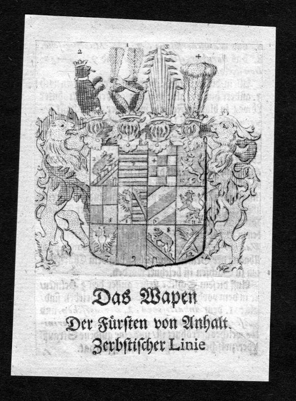 1750 - Anhalt-Zerbstische Linie Wappen Adel coat of arms heraldry Heraldik
