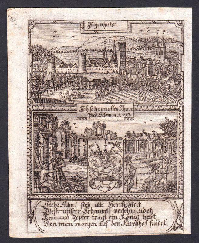 1780 Ziegenhals Glucholazy Polen Polska Poland Schlesien Kupferstich engraving
