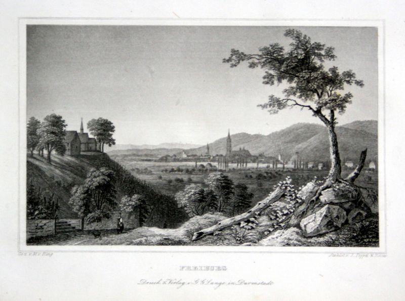 1850 Freiburg im Breisgau Baden-Württemberg Baden gravure Stahlstich Ring Poppel