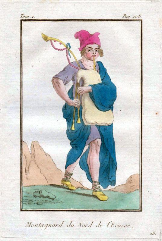 1780 Scotland Schottland costume Trachten Kupferstich antique print