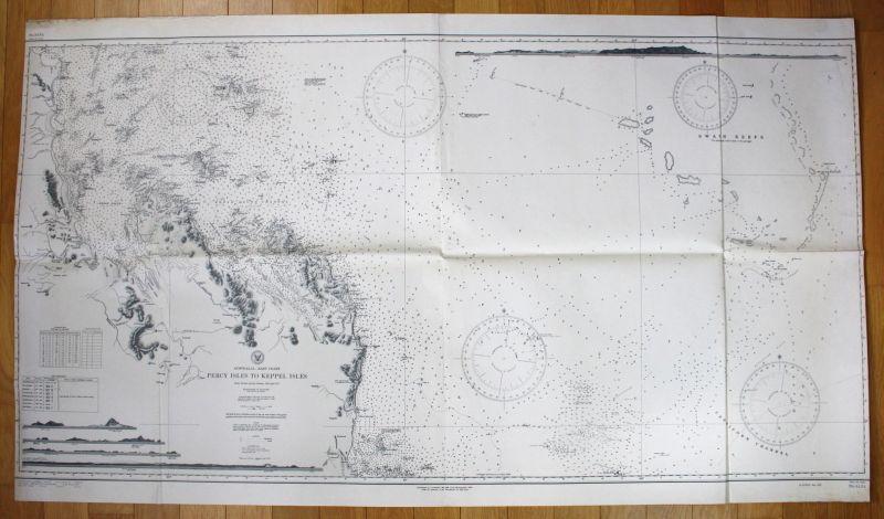 1943 Australia - East Coast - Perca Isles to Keppel Isles Australien map