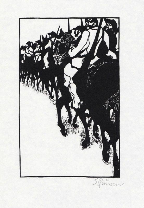 1969 Eduard Prüssen Charles Sealsfield Linolschnitt Prärie am Jacinto signiert